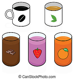 Breakfast beverages - Cartoon illustration showing different...