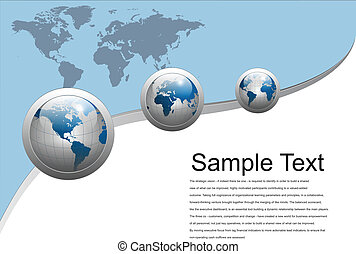 Business background with world globes, grey and blue, vector...