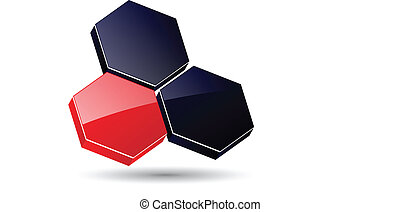 logo 3D hexagons, black and red.