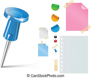 Vector push pin and stickers