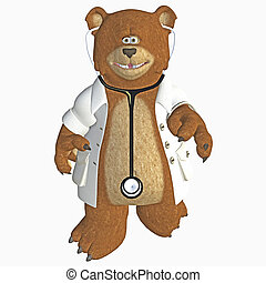 doctor bear - 3d render