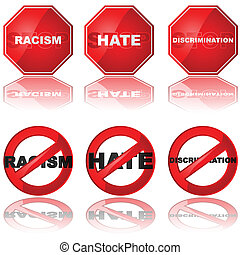 Stop discrimination - Set of icons showing a stop sign and a...