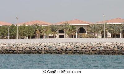 Dubai Palm Island Seen From Boat, United Arab Emirates