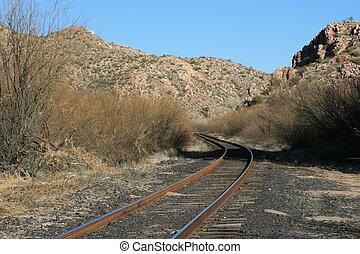 Train tracks in the Arizona Desert