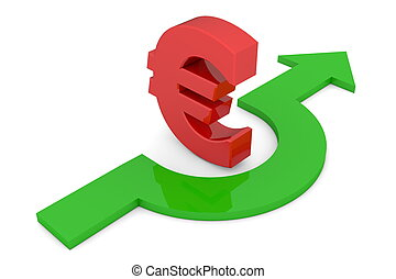A Way Around - Red Euro Symbol - a shiny green arrow avoids...