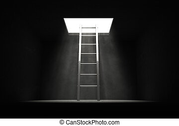 Exit the Dark - Silver Grey Ladder to the Light - silver...