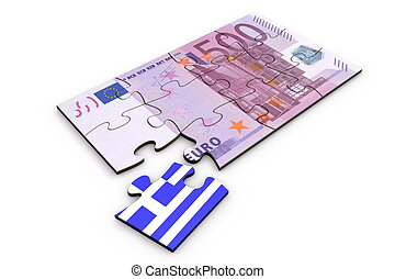 500 Euro Note Puzzle And a Greek Piece - 500 Euro note from...