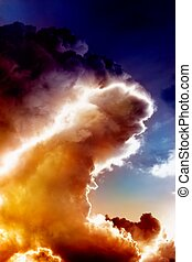 Fire wave in sky - Abstract armageddon background - big fire...