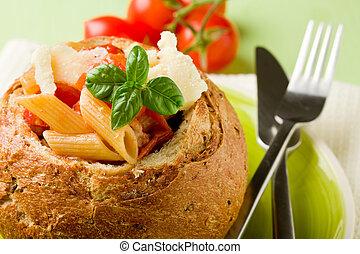 Bread stuffed with pasta - delicious multi grain bread...