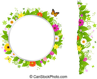 Circle And Border From Flowers, Isolated On White...