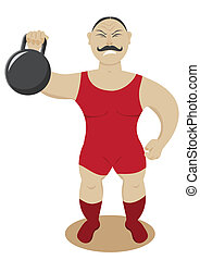 Circus strongman on a white background