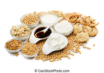 Soy products isolated on white - Tofu and other soy products...