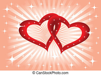 Two hearts - Background with two hearts