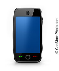 Blue cellphone isolated - Cellphone with touchscreen