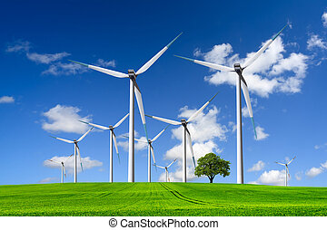 Wind turbines farm on green field