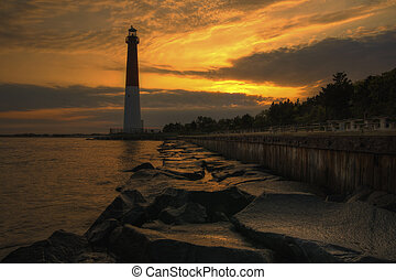 Barnegat Lighthouse Sunrise - Sunrise at Barnegat State...