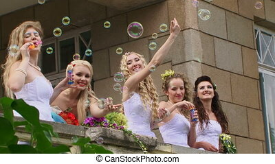 Entertainment in the castle - Beautiful girls in wedding...