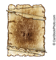 three  vintage grunge textured parchment scrolls, antique background texture of a paper pages, highly detailed