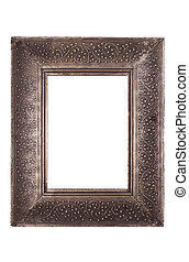 empty old pewter frame,clipping path - empty old pewter...
