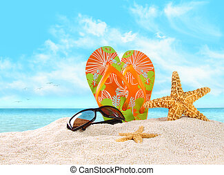 Flip- flops in the sand with starfish - Pair of flip- flops...