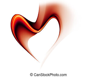 red stream of love forming a heart