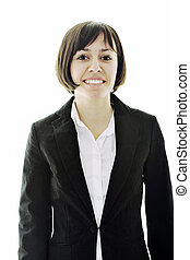 one business woman - happy young business woman isolated on...