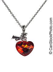 rojo, corazón, formado, piedra preciosa, collar