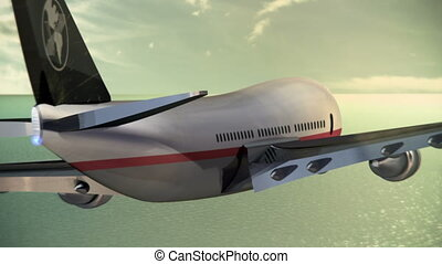 Passenger Aircraft Over Ocean - Animation of a generic...