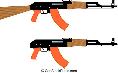 automatic kalashnikov - Vector drawing Kalashnikovs...