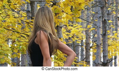 Model in a beautiful forest