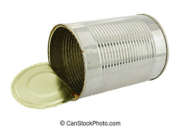 can - empty tin can on white background