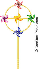 childrens toy pinwheel on a white background