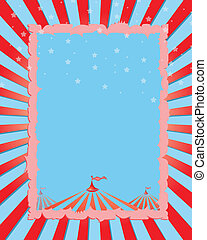 Circus retro poster red rays - A retro circus Background for...