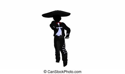 Mariachi boy illustration silhouette illustration on a white...