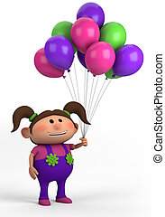girl with balloons - cute brown-haired girl with balloons;...
