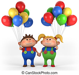 kids with balloons - cute boy and girl with balloons holding...