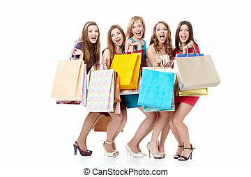 Sale - Screaming girls in dresses with shopping