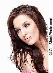 Hairstyle - Attractive young girl with makeup on white...
