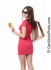 Buyer - Girl with shopping bags and credit cards in...