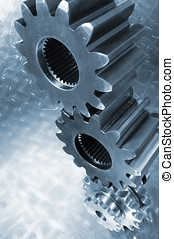 gear wheels engineering - large gears and pinions, stacked...