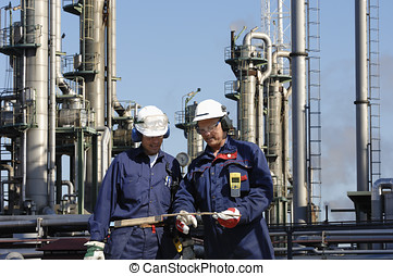 engineers and heavy industry - two workers, engineers in...