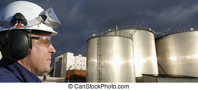 oil and gas industrial panoramic - fuel-storage tanks with...