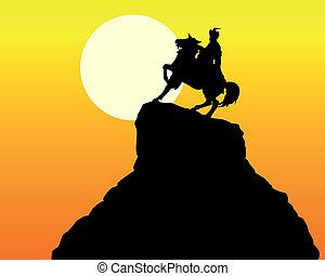 monument Khmelnitsky in Kiev - silhouette of the monument...