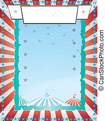 A retro circus red rays blue background for a poster