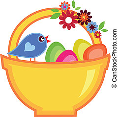 Easter basket full on colorful eggs and bird