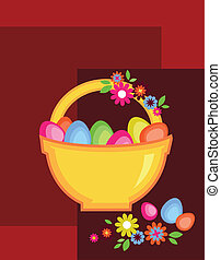 easter card with egg basket