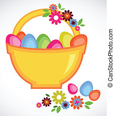 Easter basket full on colorful eggs and flowers