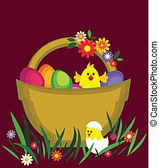 easter card with egg basket, flowers and chicken