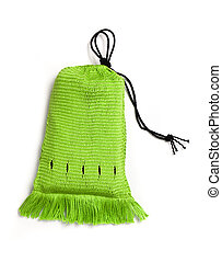 Green handwoven bag - Craft project - green handwoven bag in...