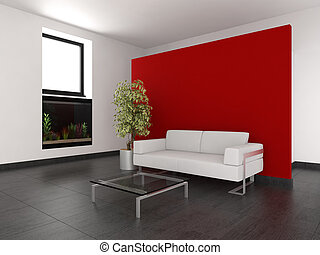 modern living room with red wall and aquarium